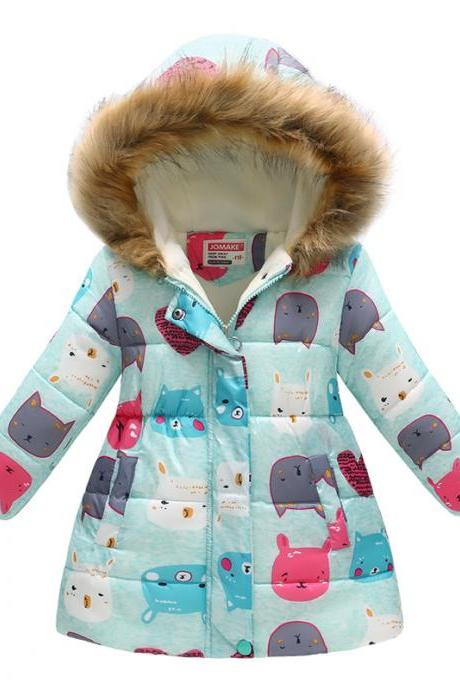 Kids Girls Cotton Down Coat Winter Floral Printed Long Sleeve Hooded Children Warm Thick Fleece Parka Jacket 11#