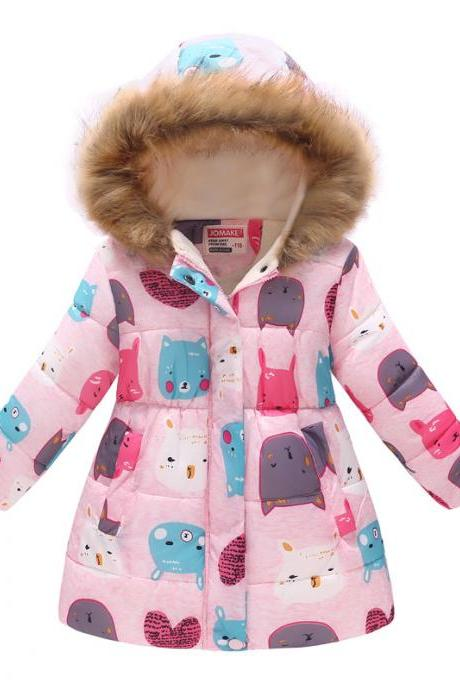 Kids Girls Cotton Down Coat Winter Floral Printed Long Sleeve Hooded Children Warm Thick Fleece Parka Jacket 14#