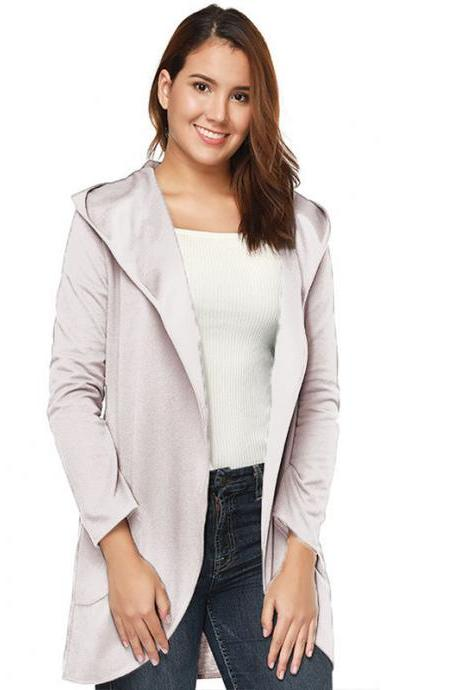 Women Woolen Blend Coat Autumn Solid Long Sleeve Casual Loose Hooded Plus Size Jacket Outwear apricot