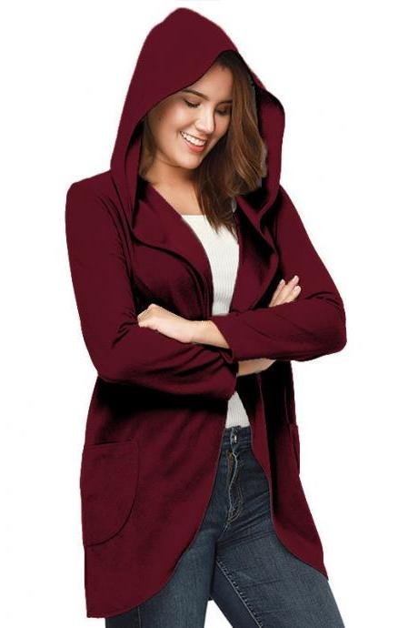 Women Woolen Blend Coat Autumn Solid Long Sleeve Casual Loose Hooded Plus Size Jacket Outwear burgundy