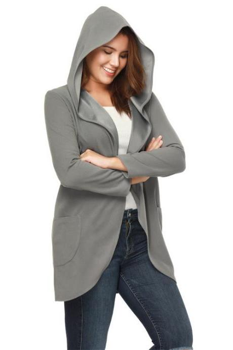 Women Woolen Blend Coat Autumn Solid Long Sleeve Casual Loose Hooded Plus Size Jacket Outwear gray