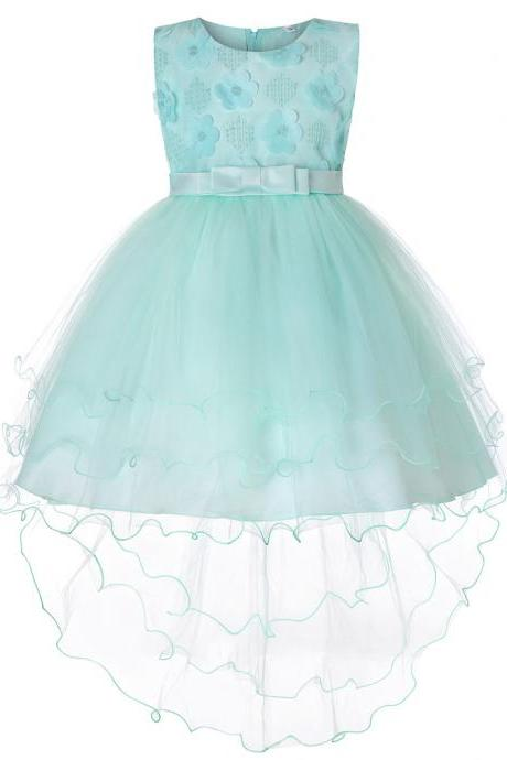 High Low Flower Girl Dress Trailing Bow Princess Wedding Birthday Party Gown Children Clothes aqua