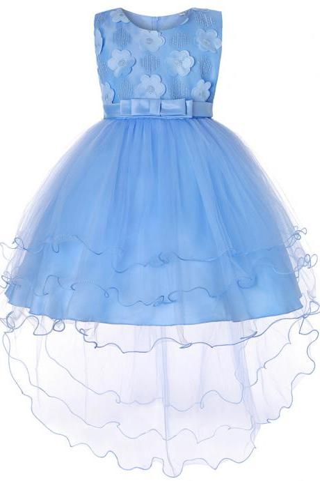 High Low Flower Girl Dress Trailing Bow Princess Wedding Birthday Party Gown Children Clothes sky blue