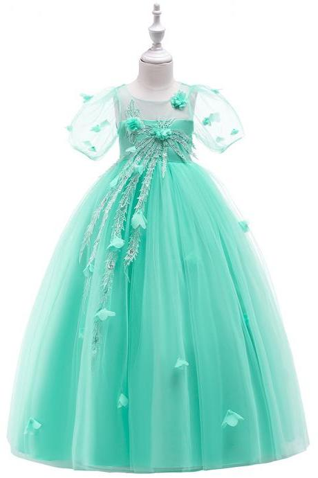 Long Flower Girl Dress Short Sleeve Princess Lace Teens Formal Perform Party Gown Children Clothes mint