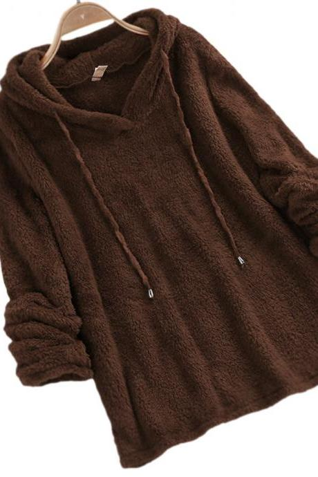 Women Hoodies Autumn Winter Solid Warm Casual Long Sleeve Pullover Top Fleece Sweatshirts brown
