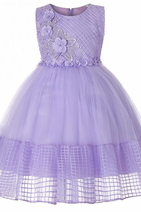 Lace Flower Girl Dress Sleeveless Princess Wedding First Communion Party Ball Gown Children Clothes lilac