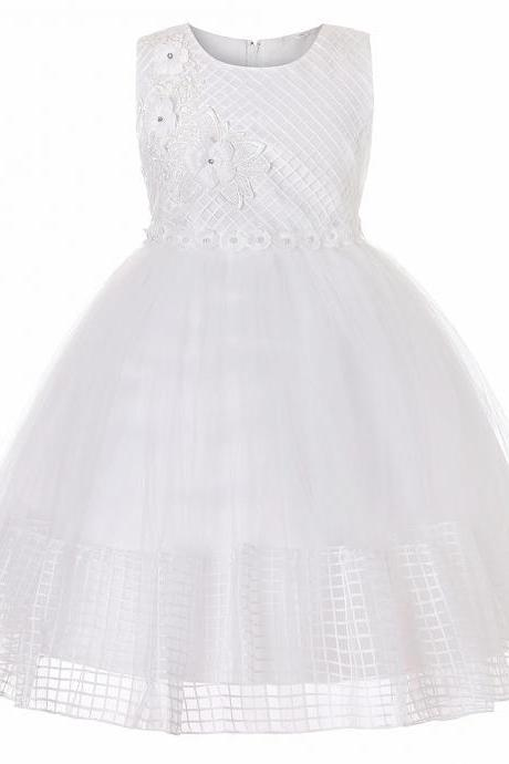 Lace Flower Girl Dress Sleeveless Princess Wedding First Communion Party Ball Gown Children Clothes off white