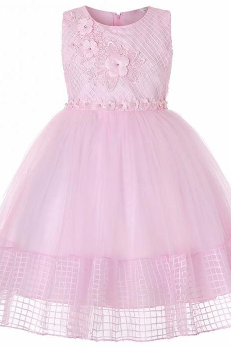 Lace Flower Girl Dress Sleeveless Princess Wedding First Communion Party Ball Gown Children Clothes pink