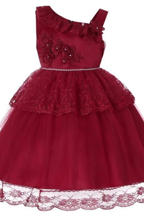 Lace Flower Girl Dress One Shoulder Princess Wedding Birthday Party Ball Gown Children Clothes crimson