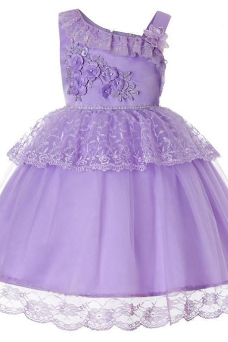 Lace Flower Girl Dress One Shoulder Princess Wedding Birthday Party Ball Gown Children Clothes lilac