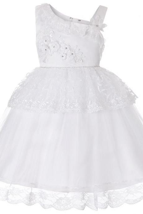 Lace Flower Girl Dress One Shoulder Princess Wedding Birthday Party Ball Gown Children Clothes off white