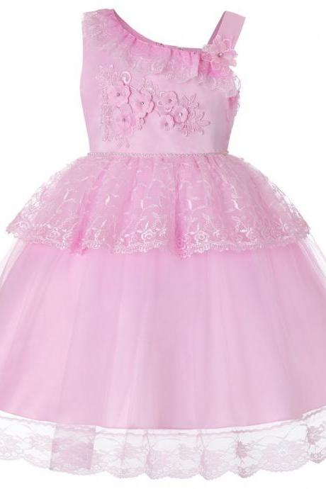 Lace Flower Girl Dress One Shoulder Princess Wedding Birthday Party Ball Gown Children Clothes pink