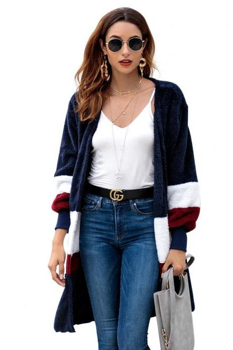 Women Plush Coat Sweater Autumn Winter Long Sleeve Casual Loose Patchwork Color Warm Cardigan Jacket navy blue