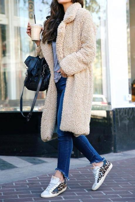 Women Plush Coat Winter Thick Long Sleeve Turn-down Collar Casual Loose Fleece Warm Long Jacket Outerwear apricot