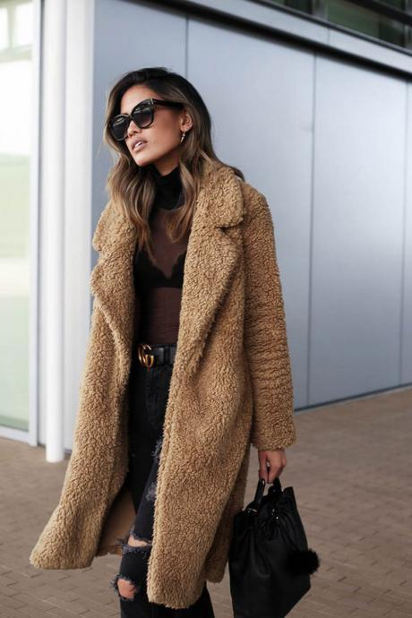 Women Plush Coat Winter Thick Long Sleeve Turn-down Collar Casual Loose Fleece Warm Long Jacket Outerwear camel