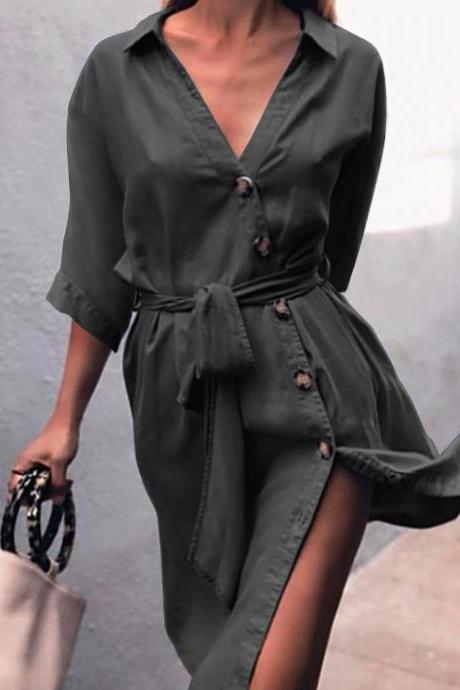 Women Denim Dress Sexy V-Neck Half Sleeve Belted Split Casual Loose Button Short Shirt Dress black