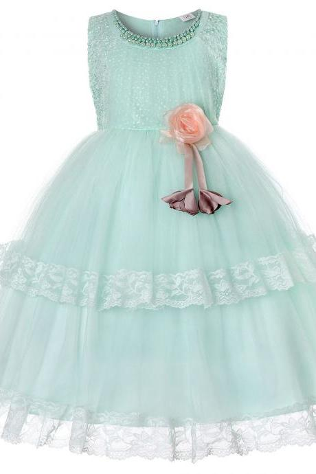 Princess Lace Flower Girl Dress Sleeveless Wedding Formal Birthday Party Christening Gown Kids Children Clothes pale green