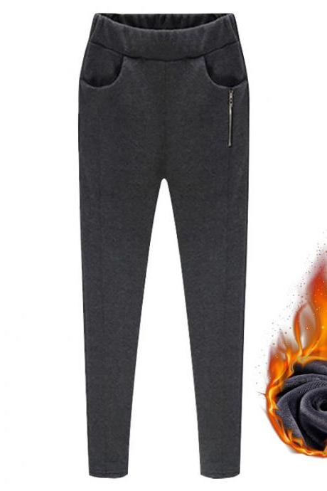 Women Harem Pants Plus Size High Waist Skinny Fleece Casual Warm Zipper Leggings Pencil Trousers dark gray fleece