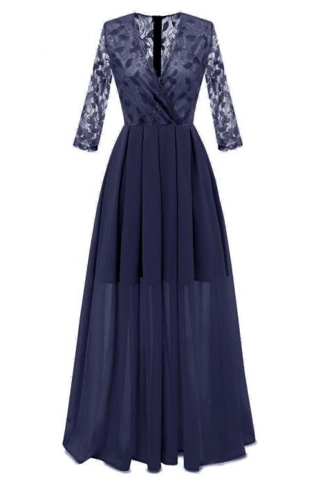 Women Long Chiffon Dress V Neck 3/4 Sleeve Lace Maxi Formal Party Bridesmaid Dress navy blue