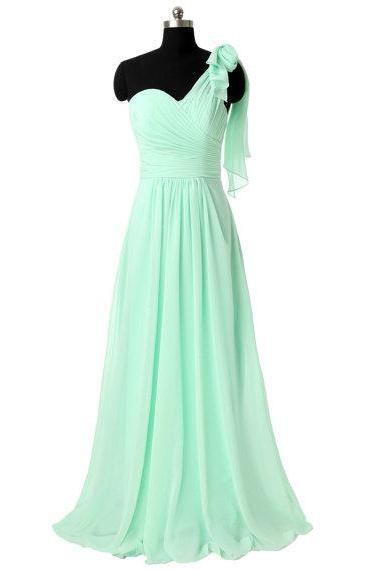 One Shoulder Bridesmaid Dresses, Long Chiffon Bridesmaid Dresses, Mint Green Prom Dress