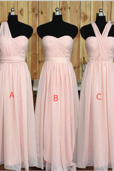 Simple Long Bridesmaid Dresses, Chiffon A-line Prom Dresses 2019
