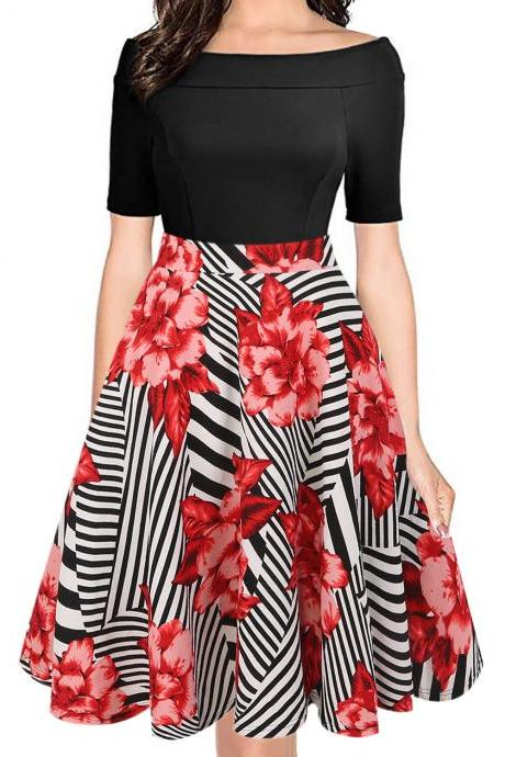 Women Floral Printed Dress Off the Shoulder Short Sleeve Patchwork Slim A Line Formal Party Dress 3#