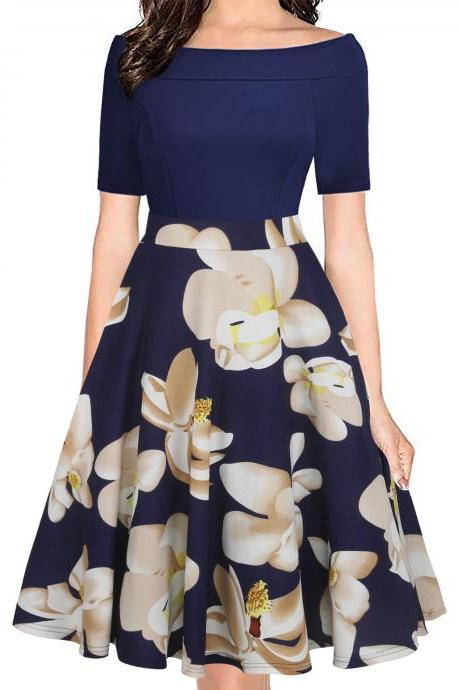 Women Floral Printed Dress Off the Shoulder Short Sleeve Patchwork Slim A Line Formal Party Dress 8#