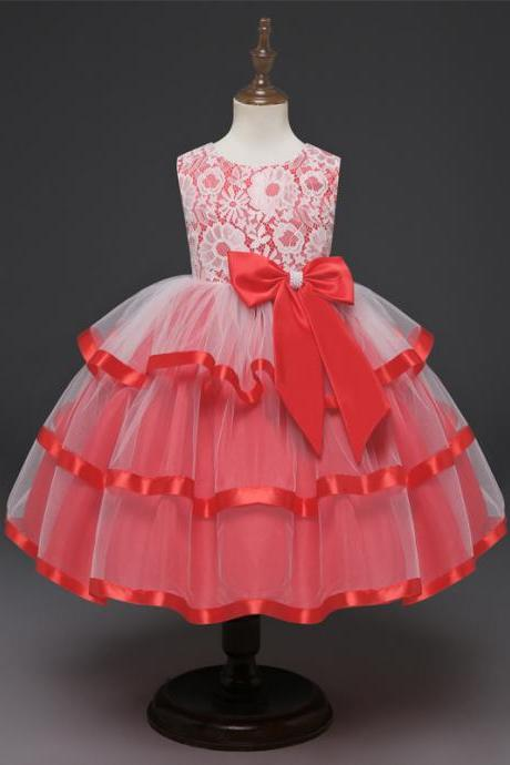 Princess Lace Flower Girl Dress Sleeveless Layered Formal Birthday Party Ball Tutu Gown Children Clothes red