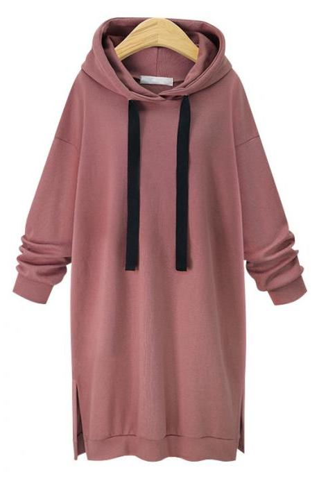 Women Sweatshirt Dress Fashion Autumn Winter Casual Loose Plus Size Long Sleeve Hoodies Dress pink
