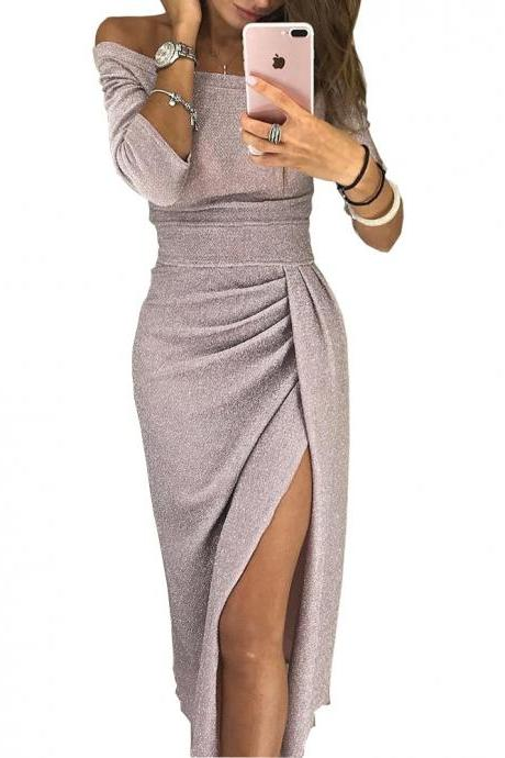 Women Pencil Dress Off the Shoulder Slash Neck 3/4 Sleeve Split Glittering Long Club Prom Party Dress AS PIC