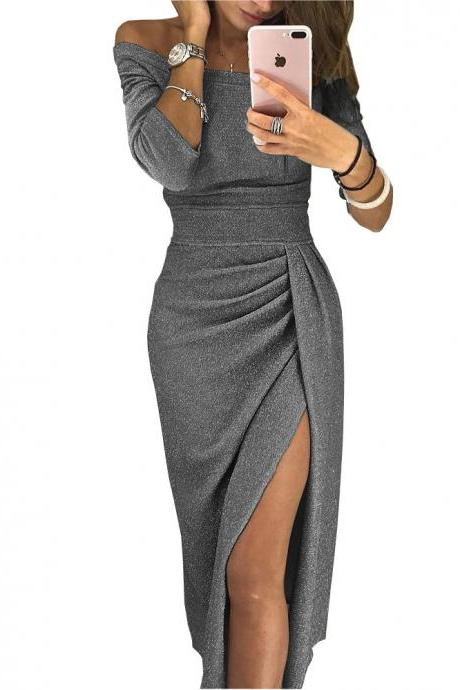 Women Pencil Dress Off the Shoulder Slash Neck 3/4 Sleeve Split Glittering Long Club Prom Party Dress gray