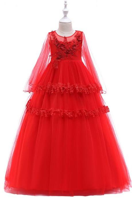 Long Sleeve Flower Girl Dress Layered Lace Teens Formal Birthday Long Party Gown Kids Children Clothes red