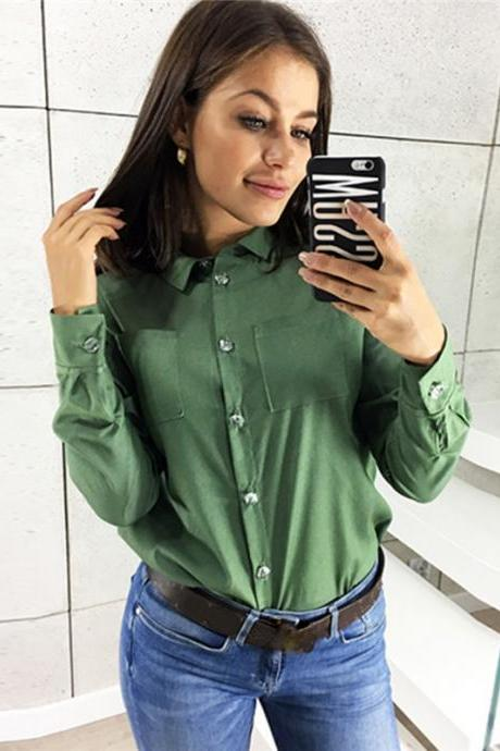 Women Shirt Button Turn-down Collar Long Sleeve Work Office OL Lady Casual Loose Blouse Tops green