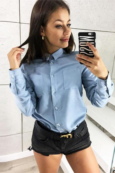 Women Shirt Button Turn-down Collar Long Sleeve Work Office OL Lady Casual Loose Blouse Tops sky blue