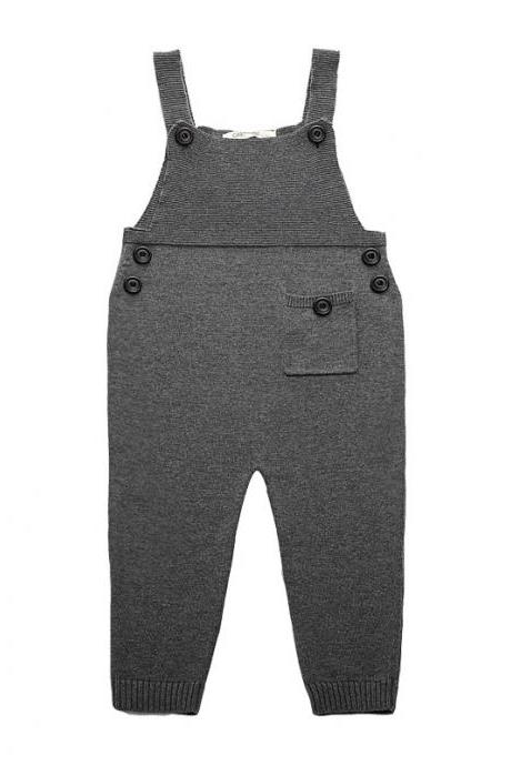 Newborn Baby Boys Girls Overalls Cotton Knitted Jumpsuit Kids Suspender Pants Children Clothing gray