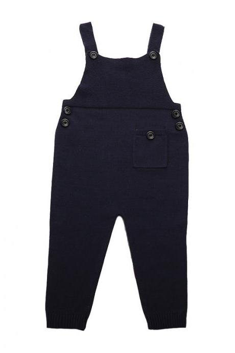 Newborn Baby Boys Girls Overalls Cotton Knitted Jumpsuit Kids Suspender Pants Children Clothing navy blue