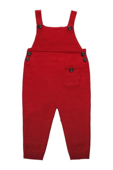 Newborn Baby Boys Girls Overalls Cotton Knitted Jumpsuit Kids Suspender Pants Children Clothing red