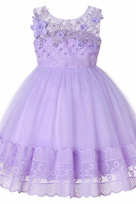 Lace Flower Girl Dress Princess Sleeveless Wedding Formal Birthday Party Tutu Gown Children Clothes lilac