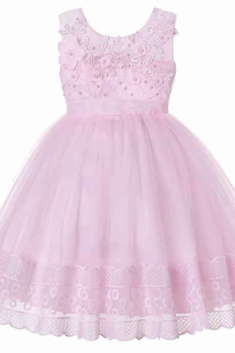 Lace Flower Girl Dress Princess Sleeveless Wedding Formal Birthday Party Tutu Gown Children Clothes pink