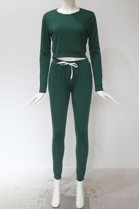 Women Tracksuit Autumn Casual Long Sleeve Crop Top +Long Pants Two Pieces Sets Outfits green