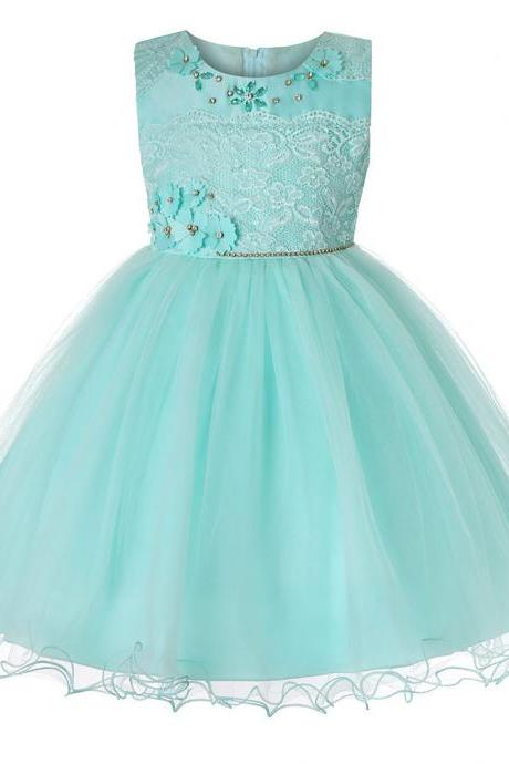 Princess Lace Flower Girl Dress Sleeveless Teens Wedding Formal Birthday Party Tutu Gown Children Clothes aqua