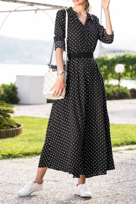 Women Polka Dot Maxi Dress Split Long Sleeve Casual Beach Holiday Boho Long Party Dress black
