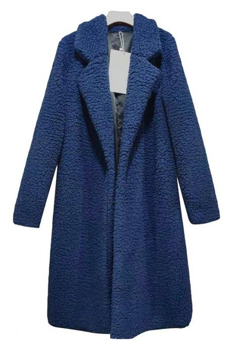 Women Teddy Faux Fur Coat Turn-Down Collar Long Sleeve Warm Winter Thick Plush Long Jacket Cardigan Overcoat dark blue