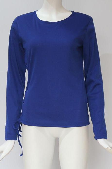 Women Long Sleeve T Shirt Autumn Sexy Side Lace Up Bandage Casual Slim Pullover Tops blue