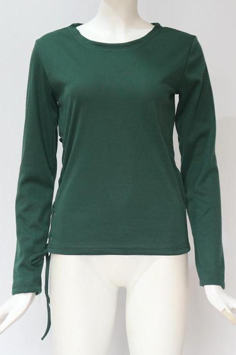 Women Long Sleeve T Shirt Autumn Sexy Side Lace Up Bandage Casual Slim Pullover Tops green