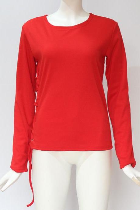 Women Long Sleeve T Shirt Autumn Sexy Side Lace Up Bandage Casual Slim Pullover Tops red
