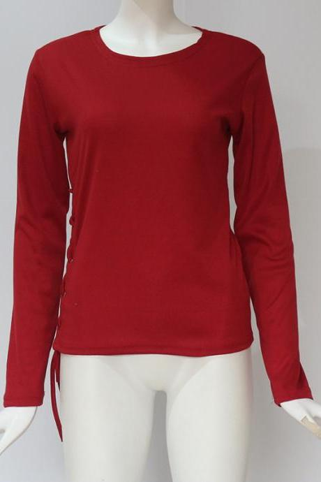 Women Long Sleeve T Shirt Autumn Sexy Side Lace Up Bandage Casual Slim Pullover Tops wine red