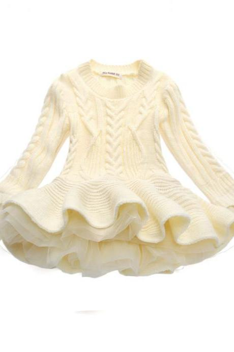 Baby Girl Sweater Dress Long Sleeve Autumn Winter Thick Warm Casual Party Knitted TuTu Dress Children Clothes beige
