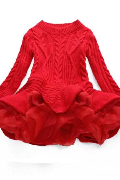 Baby Girl Sweater Dress Long Sleeve Autumn Winter Thick Warm Casual Party Knitted TuTu Dress Children Clothes red