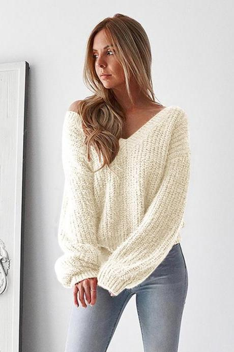 Women Knitted Sweater Autumn Winter Deep V Neck Long Sleeve Backless Loose Thicken Pullover Tops ivory